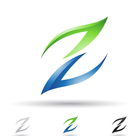 Vector illustration of abstract icons based on the letter Z