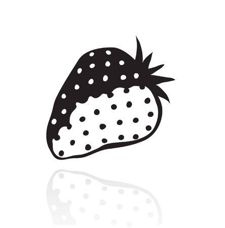 summer diet: Line art black strawberry isolated on white