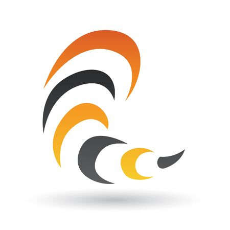 Orange and Black Abstract Icon Illustration isolated on a white background Stock Photo