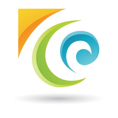 Orange, Grün und Blau Abstract Icon Illustration auf einem weißen Hintergrund Standard-Bild