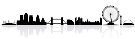 wembley: London skyline silhouette isolated on a white background with reflections