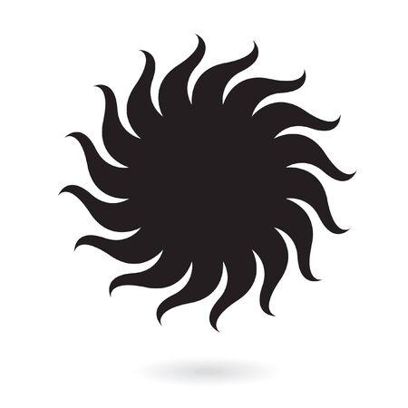 Black sun isolated on white