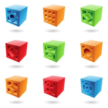cubos de ladrillo abstractas en colores Vaus Foto de archivo