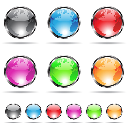glossy and colorful globe icons with metallic frames