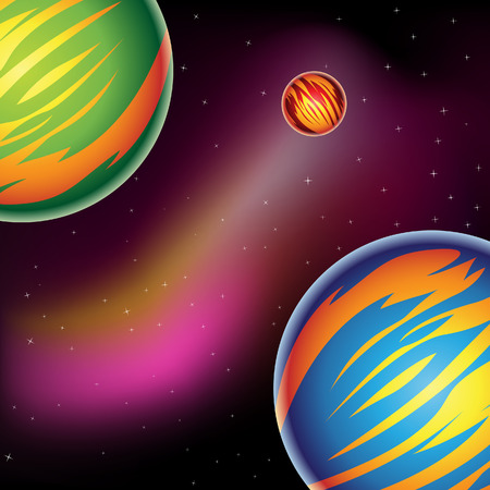planetarium: Vector Illustration of Fantasy Planets in outer space Stock Photo