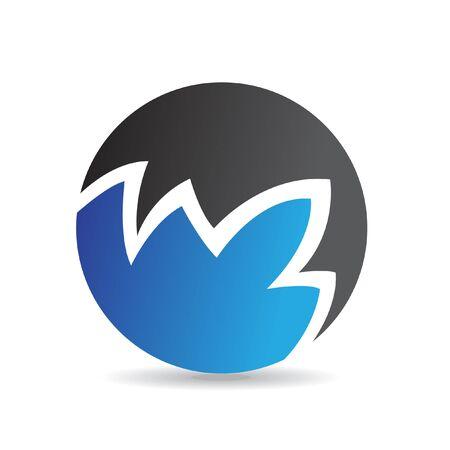 round logo: Blue round logo icon and design element