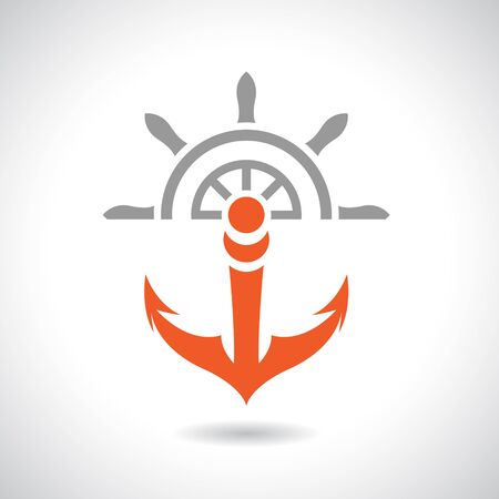 Vector Illustration of an Anchor and Rudder Icon isolated on a white background Stock Photo