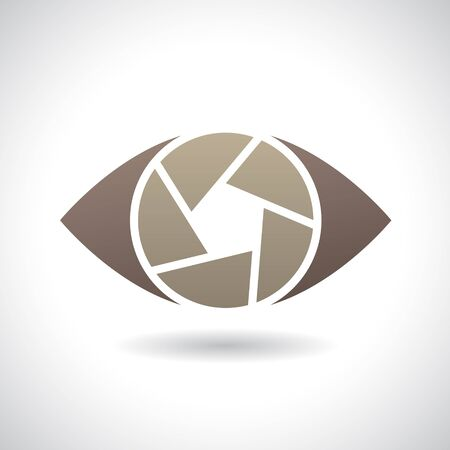 abstract aperture: Design Concept of a Shape and Icon of a Shutter Eye Stock Photo