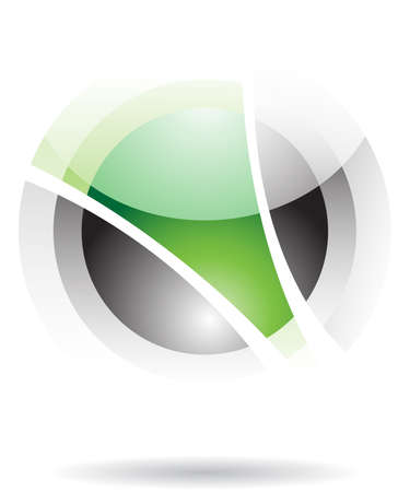 Green and black transparent sphere icon