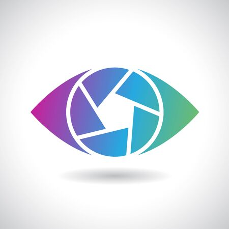 Design Concept of a Shape and Icon of a Shutter Eye Stock Photo