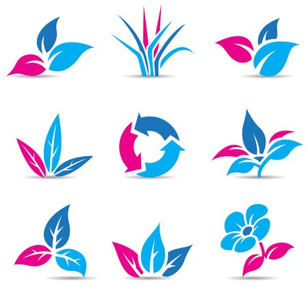 Vector Illustration of Blue and Magenta Leaves isolated on white