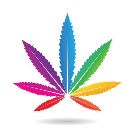 Illustration of a Cannabis Leaf in Rainbow Colors isolated on white Imagens
