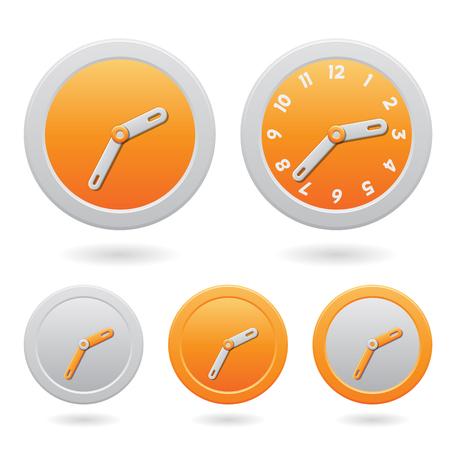 Illustration of Modern Orange Clocks Isolated on a White Background Stock Photo