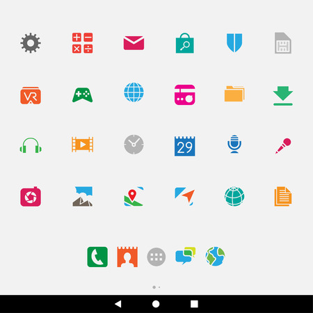 smartphone apps: Vector Illustration of Colorful Smartphone Apps and User Interface Icons Illustration