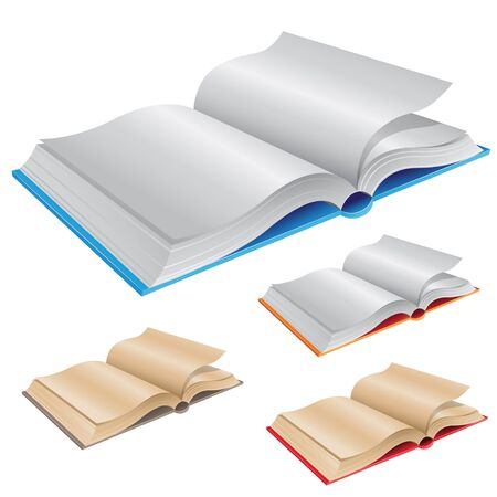 books isolated: Vector Illustration of New and Old Open Books isolated on a White Background