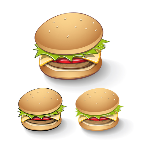 hamburgers: Vector Illustration of Tasty Cartoon Burgers isolated on a White Background with Transparent Shadow