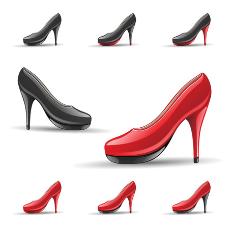 tip style design: Vector Illustration of High Heel Shoes isolated on a White Background Stock Photo