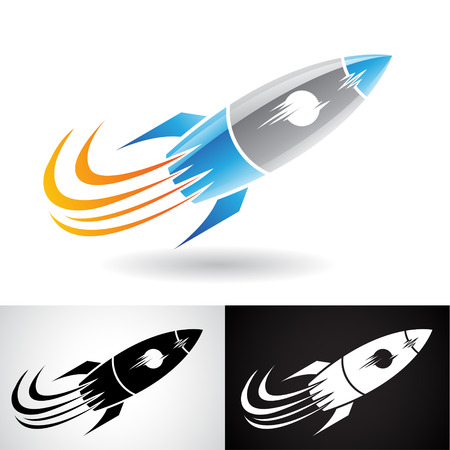 Vector Illustration of Blue and Grey Rocket Icon isolated on a White Background