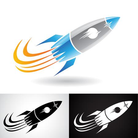 Vecteur EPS de bleu, et, gris, fusée, icône, isolé, blanc, fond