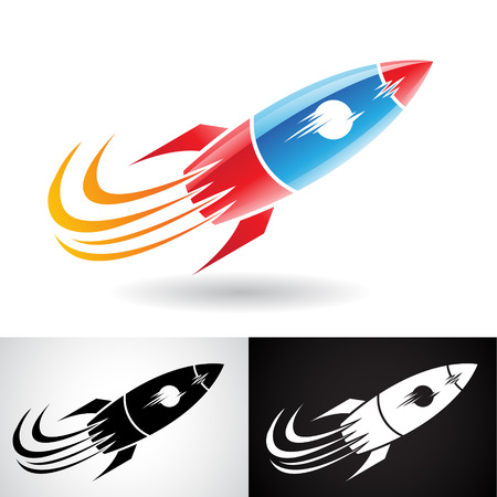 Vector Illustration of Blue and Red Rocket Icon isolated on a White Background