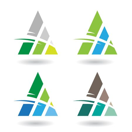 Design Concept of a Colorful Abstract Triangular Icon of Letter A, Vector Illustration Vetores