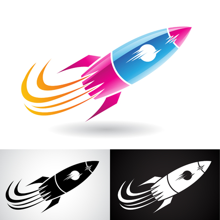 Vector Illustration of Blue and Magenta Rocket Icon isolated on a White Background