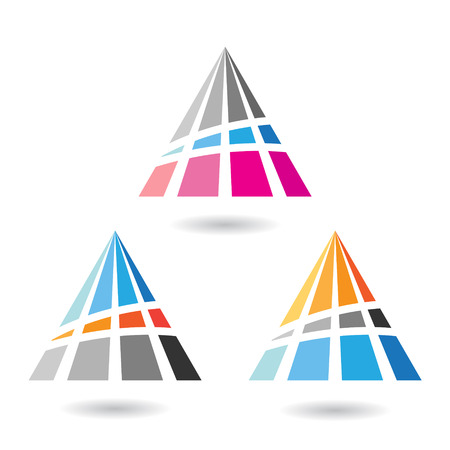 stock clip art icon: Design Concept of a Colorful Abstract Triangular Icon, Vector Illustration Illustration