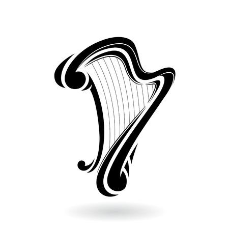 Ilustración de vector de un icono de arpa aislado en un fondo blanco