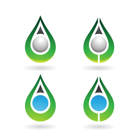 arrow icon: Vector Illustration of Colorful Water Drops and Earring Shapes isolated on a white background