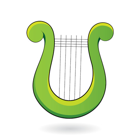 classical arts: Vector Illustration of a Harp Icon isolated on a white background
