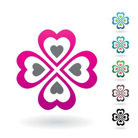 celtic background: Vector Illustration of Abstract Heart Shaped Four Leaf Clover isolated on a white background
