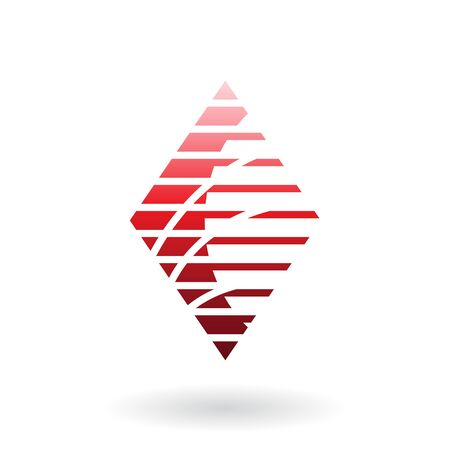 Vector Illustration of a Diamond Shaped Striped Abstract Icon isolated on a white background Illustration