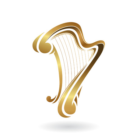 logo music: Vector Illustration of a Harp Icon isolated on a white background