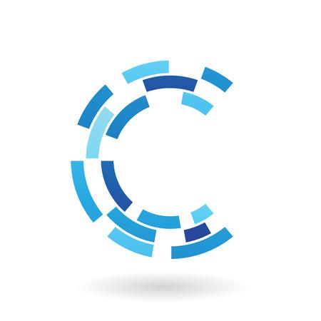 Concepto de diseño de un icono Resumen de la letra C, ilustración vectorial