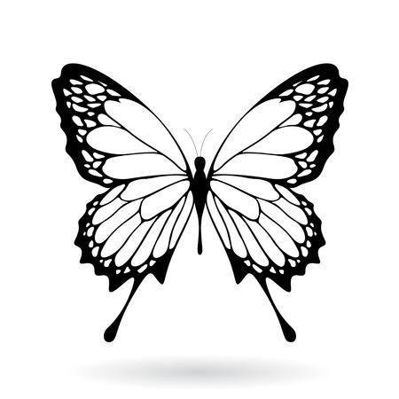 Illustrazione vettoriale di un nero farfalla Silhouettey isolato su uno sfondo bianco Vettoriali