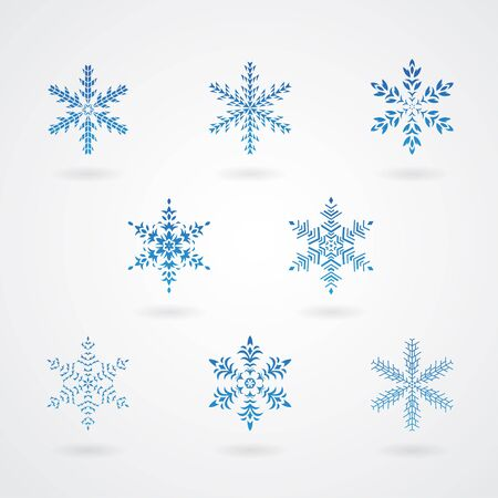 crystal background: Vector Illustration of Snowflakes Crystals Icons Illustration