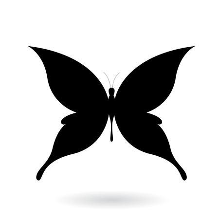 Vector Illustration of a Black Butterfly Silhouettey isolated on a white background Stock Illustratie