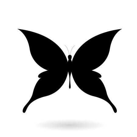 Vector ilustración de una mariposa Silhouettey Negro aislado en un fondo blanco