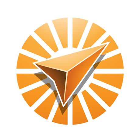 Illustrazione vettoriale di navigazione Arrow Abstract Icon isolato su uno sfondo bianco