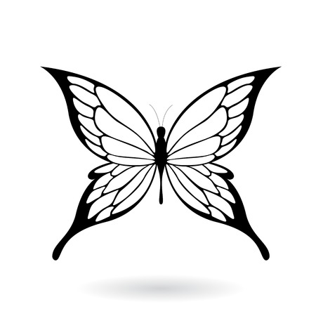 animal shadow: Vector Illustration of a Black Butterfly Silhouettey isolated on a white background Illustration