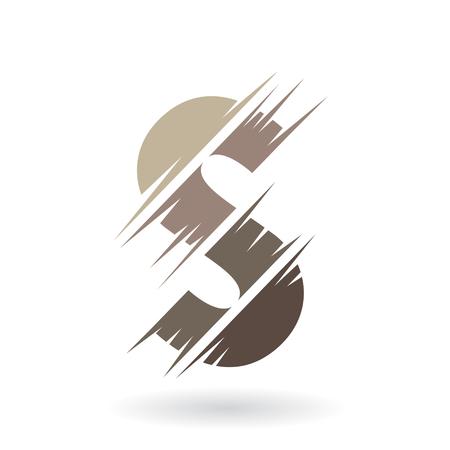 Concetto di progettazione di un'icona astratta di lettera S, illustrazione vettoriale Vettoriali