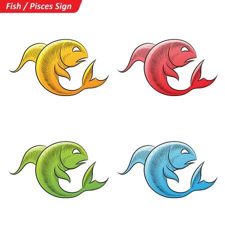 Vector Illustration of Colorful Pisces Astrological Zodiac Star Signs Sketch Illustration