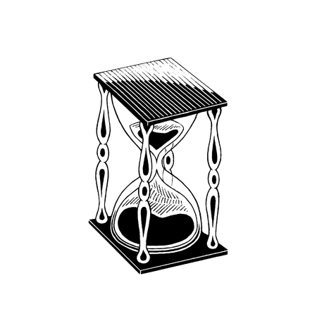 Vector Illustration of a Scratchboard Style Ink Drawing of an Hourglass
