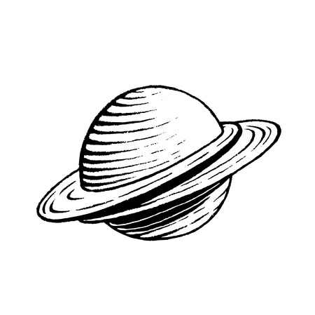 sketch: Vector Illustration of a Scratchboard Style Ink Drawing of a Saturn like Planet