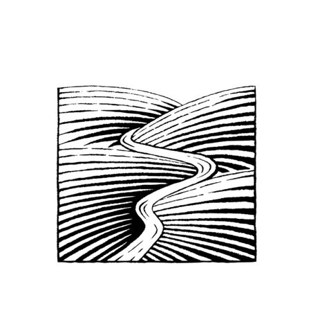 scratchboard: Vector Illustration of a Scratchboard Style Ink Drawing of Hills and River