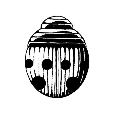 escarabajo: Ilustración vectorial de un estilo Scratchboard Dibujo de tinta de una mariquita