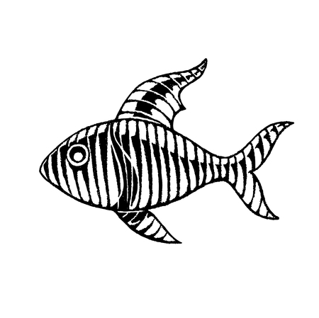 gill: Vector Illustration of a Scratchboard Style Ink Drawing of a Striped Fish