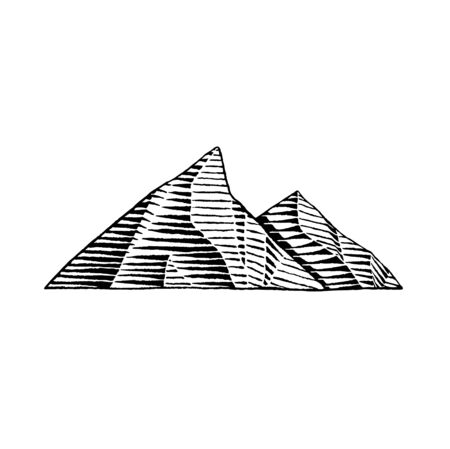 Vector Illustration of a Scratchboard Style Ink Drawing of Mountains