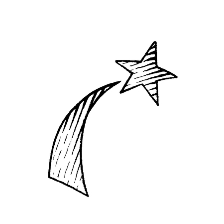 Vector Illustration of a Scratchboard Style Ink Drawing of a Shooting Star Illustration