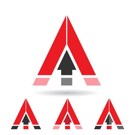 Red design Concept of a Colorful Abstract Triangular Icon of Letter A, Vector Illustration